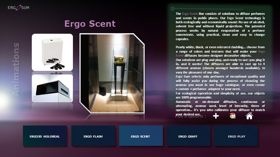 Ergo Scent ERGO3D HOLOREALERGO FLASH The Ergo Scent line consists of solutions to diffuse perfumes and scents in public places.