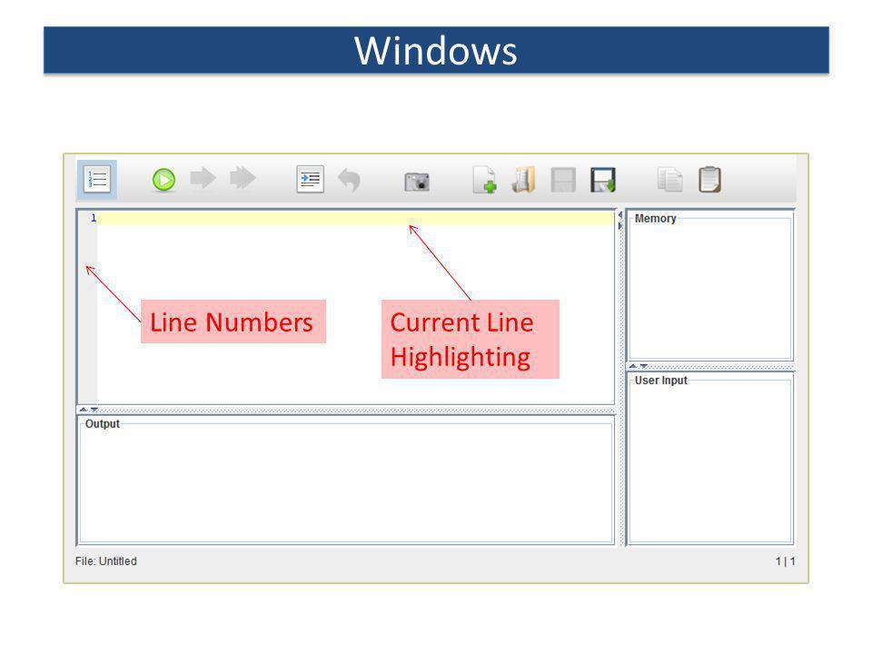 Windows Line NumbersCurrent Line Highlighting