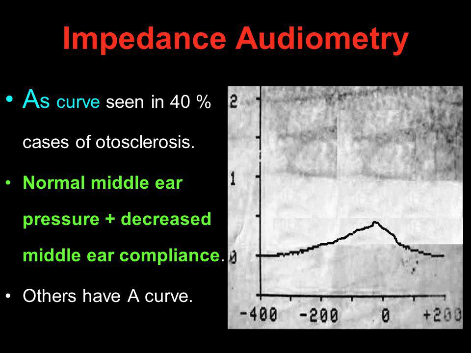 Impedance Audiometry A s curve seen in 40 % cases of otosclerosis. Normal middle ear pressure + decreased middle ear compliance. Others have A curve.