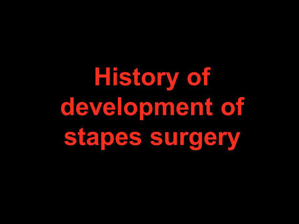 History of development of stapes surgery