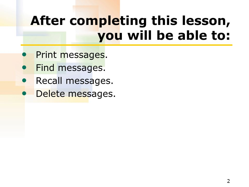13 Printing a Message To print a message 1.In the Inbox, click the message header of the message that you want to print.