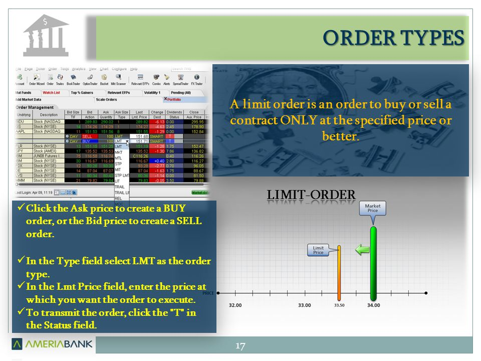 ORDER TYPES 17 A limit order is an order to buy or sell a contract ONLY at the specified price or better. Click the Ask price to create a BUY order, o