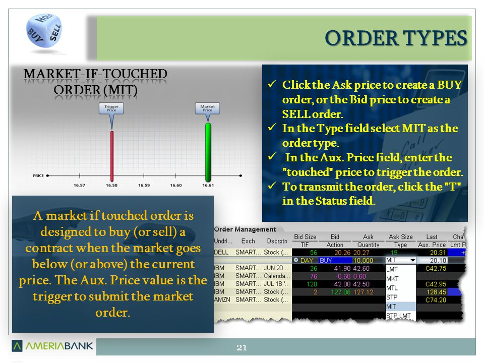 ORDER TYPES 21 A market if touched order is designed to buy (or sell) a contract when the market goes below (or above) the current price. The Aux. Pri