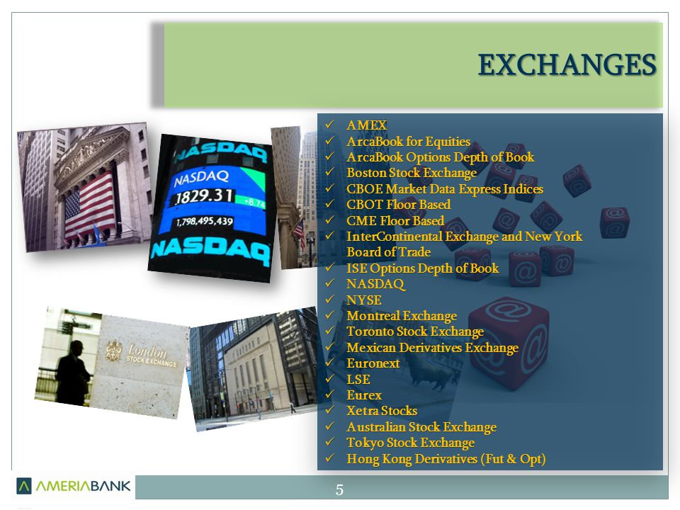 EXCHANGES AMEX AMEX ArcaBook for Equities ArcaBook for Equities ArcaBook Options Depth of Book ArcaBook Options Depth of Book Boston Stock Exchange Boston Stock Exchange CBOE Market Data Express Indices CBOE Market Data Express Indices CBOT Floor Based CBOT Floor Based CME Floor Based CME Floor Based InterContinental Exchange and New York InterContinental Exchange and New York Board of Trade ISE Options Depth of Book ISE Options Depth of Book NASDAQ NASDAQ NYSE NYSE Montreal Exchange Montreal Exchange Toronto Stock Exchange Toronto Stock Exchange Mexican Derivatives Exchange Mexican Derivatives Exchange Euronext Euronext LSE LSE Eurex Eurex Xetra Stocks Xetra Stocks Australian Stock Exchange Australian Stock Exchange Tokyo Stock Exchange Tokyo Stock Exchange Hong Kong Derivatives (Fut & Opt) Hong Kong Derivatives (Fut & Opt) 5
