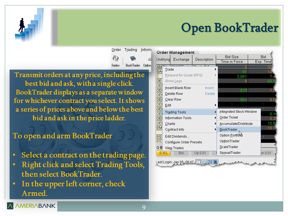 Open BookTrader 9 Transmit orders at any price, including the best bid and ask, with a single click.