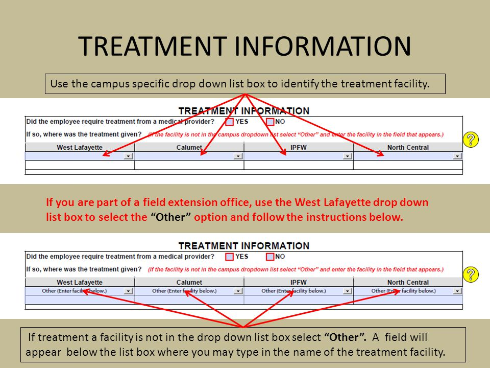 Use the campus specific drop down list box to identify the treatment facility. If treatment a facility is not in the drop down list box select Other.