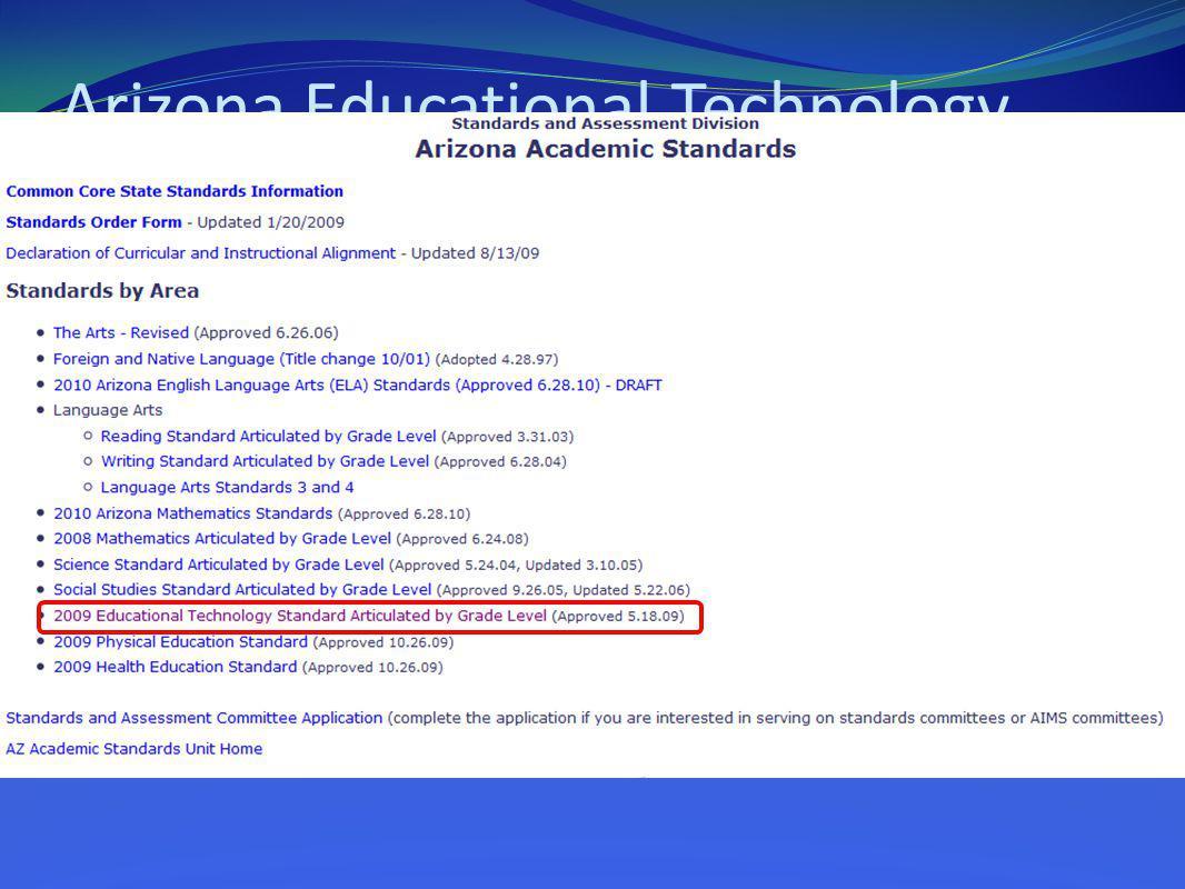Arizona Educational Technology Standards 2009