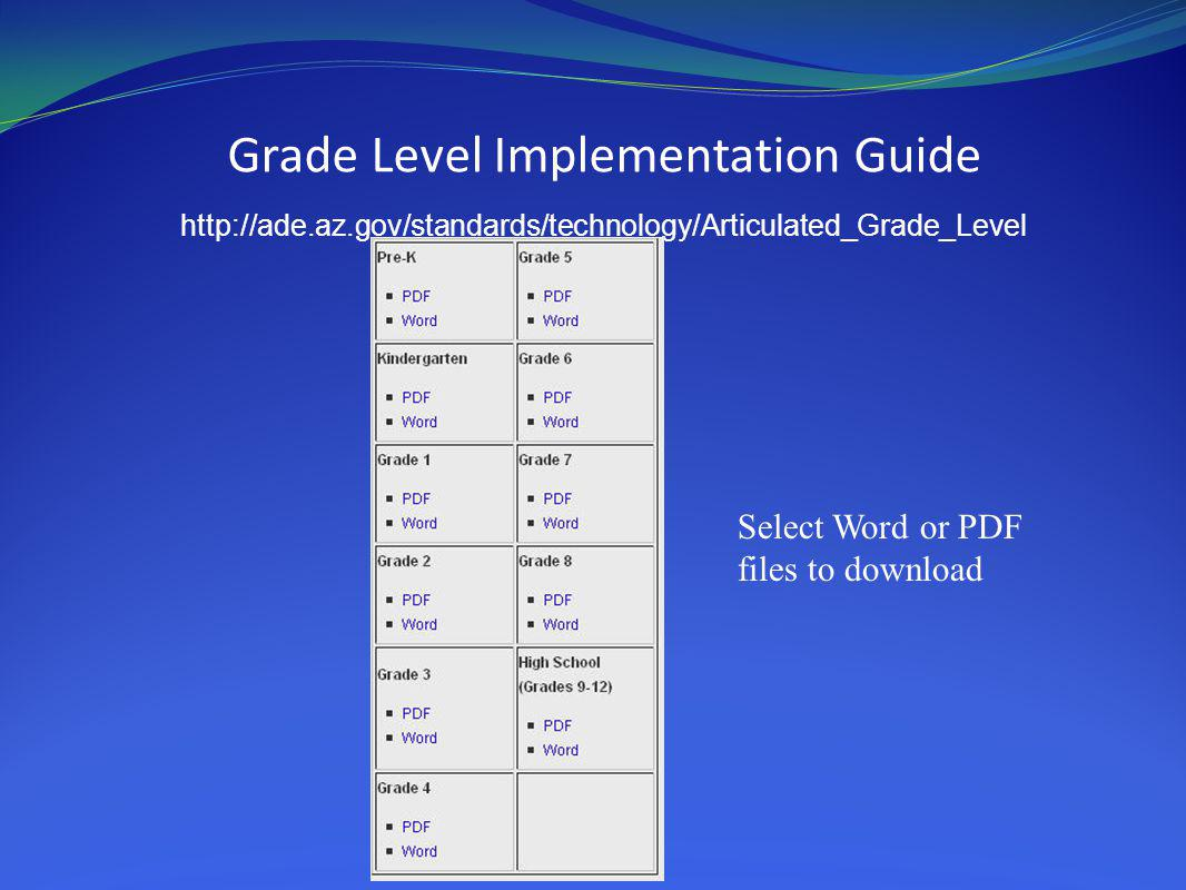 Grade Level Implementation Guide http://ade.az.gov/standards/technology/Articulated_Grade_Level Select Word or PDF files to download