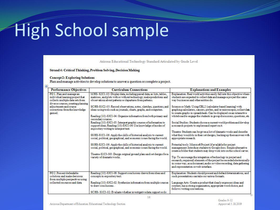 High School sample