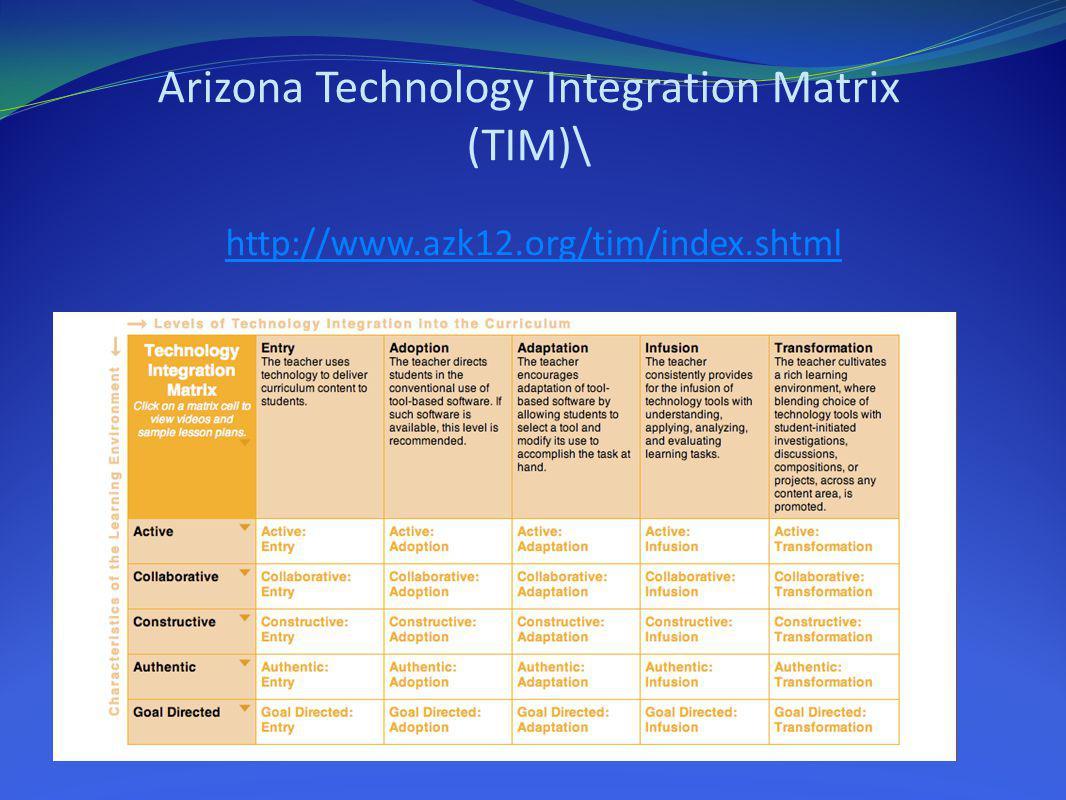 Arizona Technology Integration Matrix (TIM)\ http://www.azk12.org/tim/index.shtmlhttp://www.azk12.org/tim/index.shtml