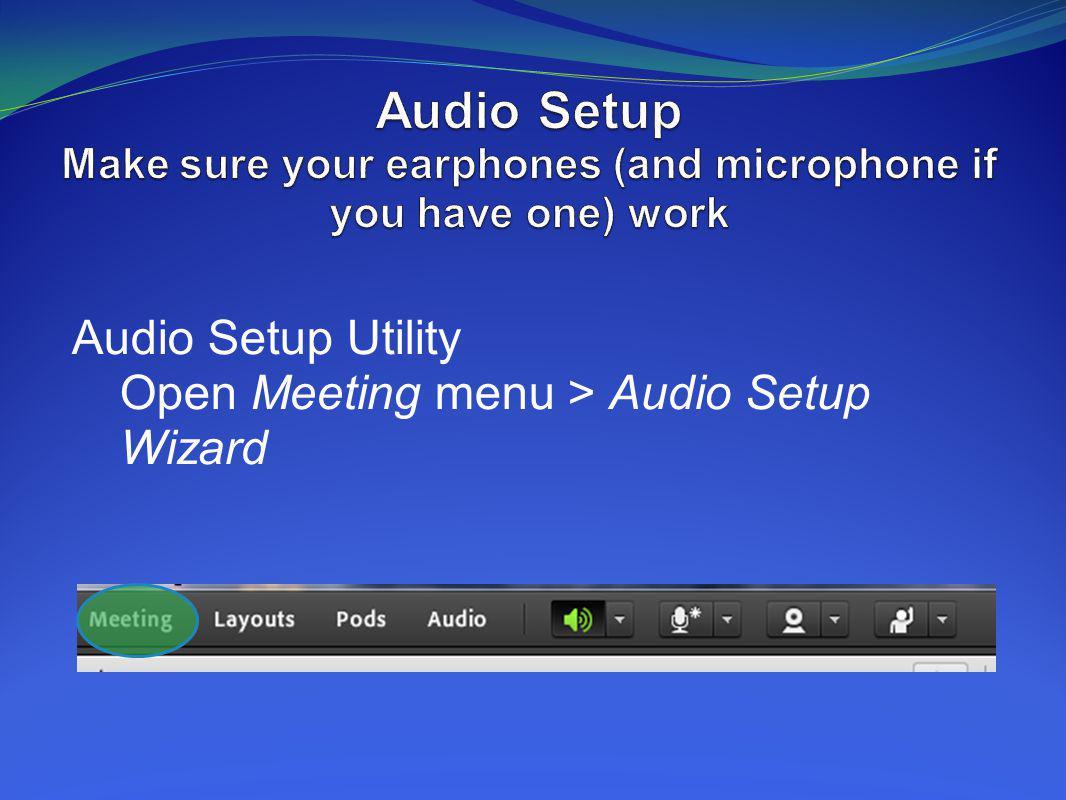 Audio Setup Utility Open Meeting menu > Audio Setup Wizard