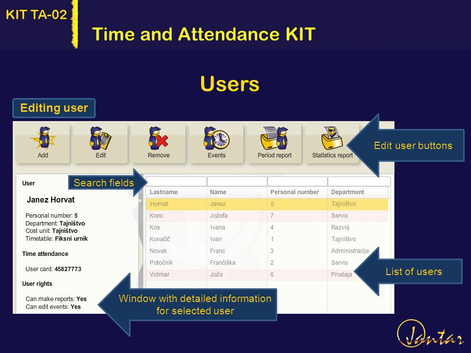 KIT TA-02 Editing user Time and Attendance KIT Users Search fields Edit user buttons List of users Window with detailed information for selected user