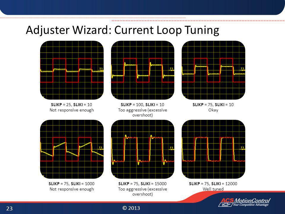 © 2013 Adjuster Wizard: Current Loop Tuning 23 SLIKP = 25, SLIKI = 10 Not responsive enough SLIKP = 100, SLIKI = 10 Too aggressive (excessive overshoo