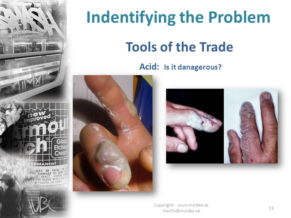 Copyright: www.myidea.se martin@myidea.se 11 Indentifying the Problem Tools of the Trade Acid: Is it danagerous