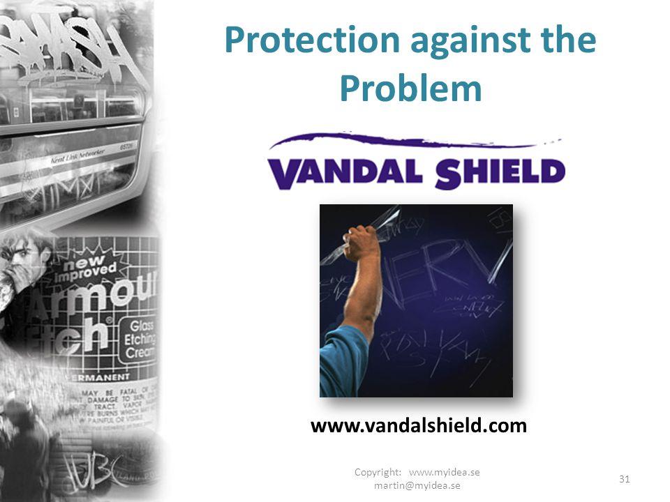 Copyright: www.myidea.se martin@myidea.se 31 Protection against the Problem www.vandalshield.com