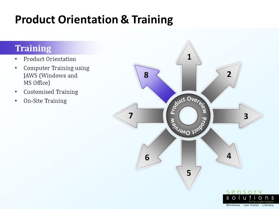 Product Orientation & Training Training Product Orientation Computer Training using JAWS (Windows and MS Office) Customised Training On-Site Training