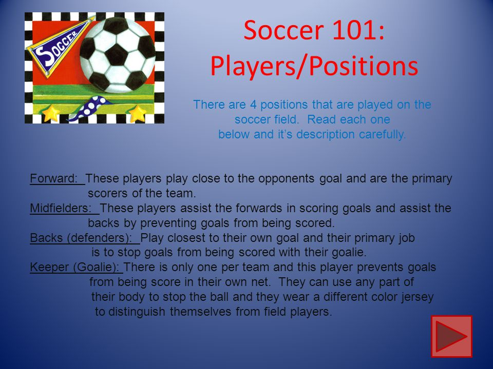 Soccer 101: Players/Positions Team USA There are 11 players that can be on the field at a time. This does include the goalie. More players are on the