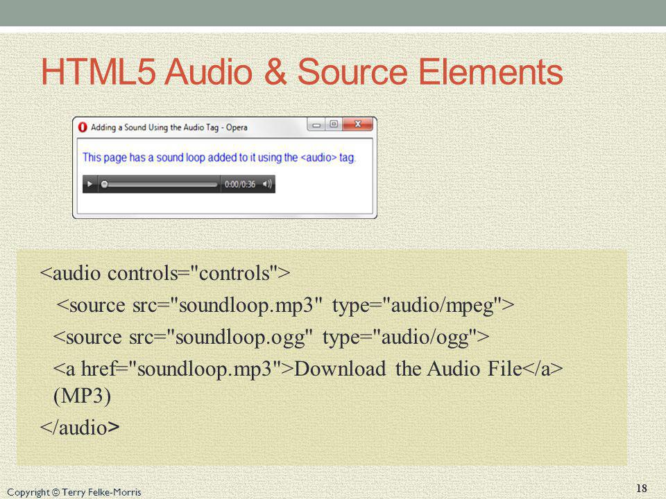 Copyright © Terry Felke-Morris HTML5 Audio & Source Elements Download the Audio File (MP3) 18