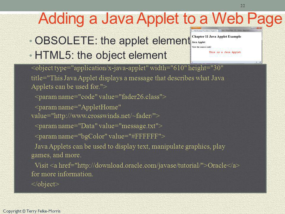 Copyright © Terry Felke-Morris Adding a Java Applet to a Web Page OBSOLETE: the applet element HTML5: the object element <object type= application/x-java-applet width= 610 height= 30 title= This Java Applet displays a message that describes what Java Applets can be used for. > Java Applets can be used to display text, manipulate graphics, play games, and more.