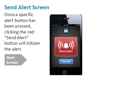 Send Alert Screen Once a specific alert button has been pressed, clicking the red Send Alert button will initiate the alert. Next Screen