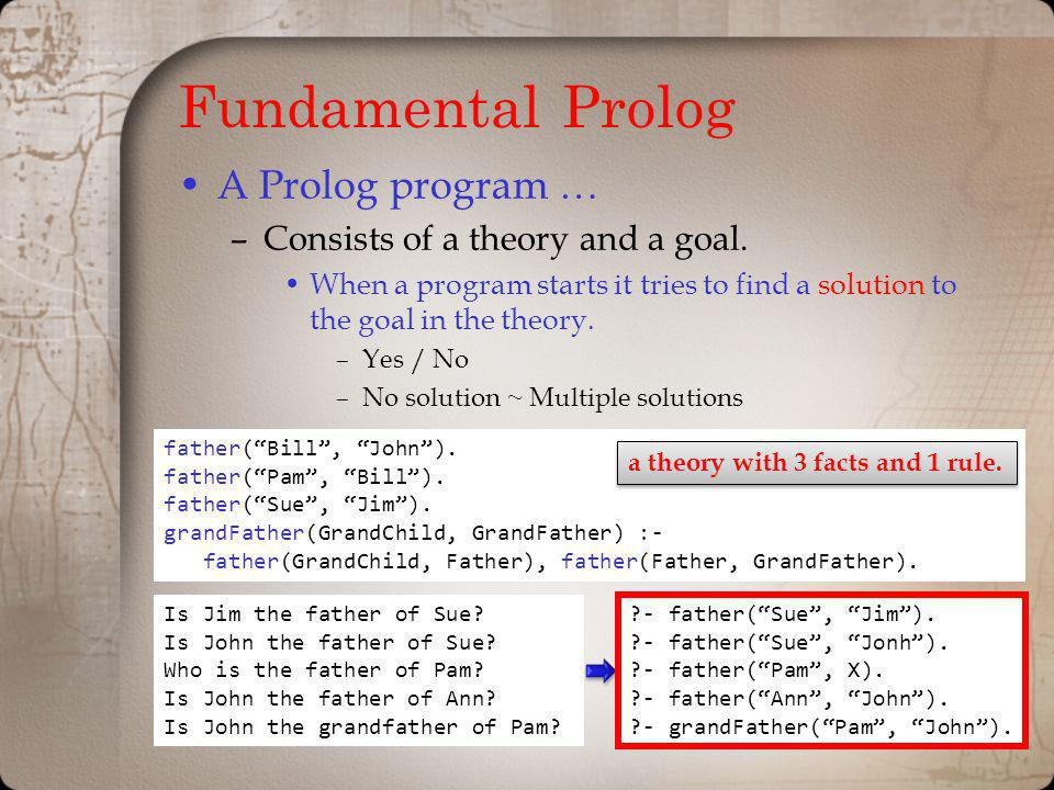 Fundamental Prolog A Prolog program … –Consists of a theory and a goal. When a program starts it tries to find a solution to the goal in the theory. –