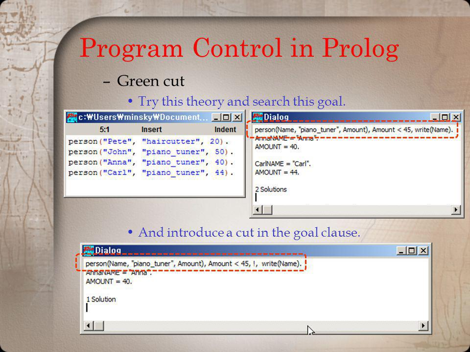 Program Control in Prolog –Green cut Try this theory and search this goal. And introduce a cut in the goal clause.