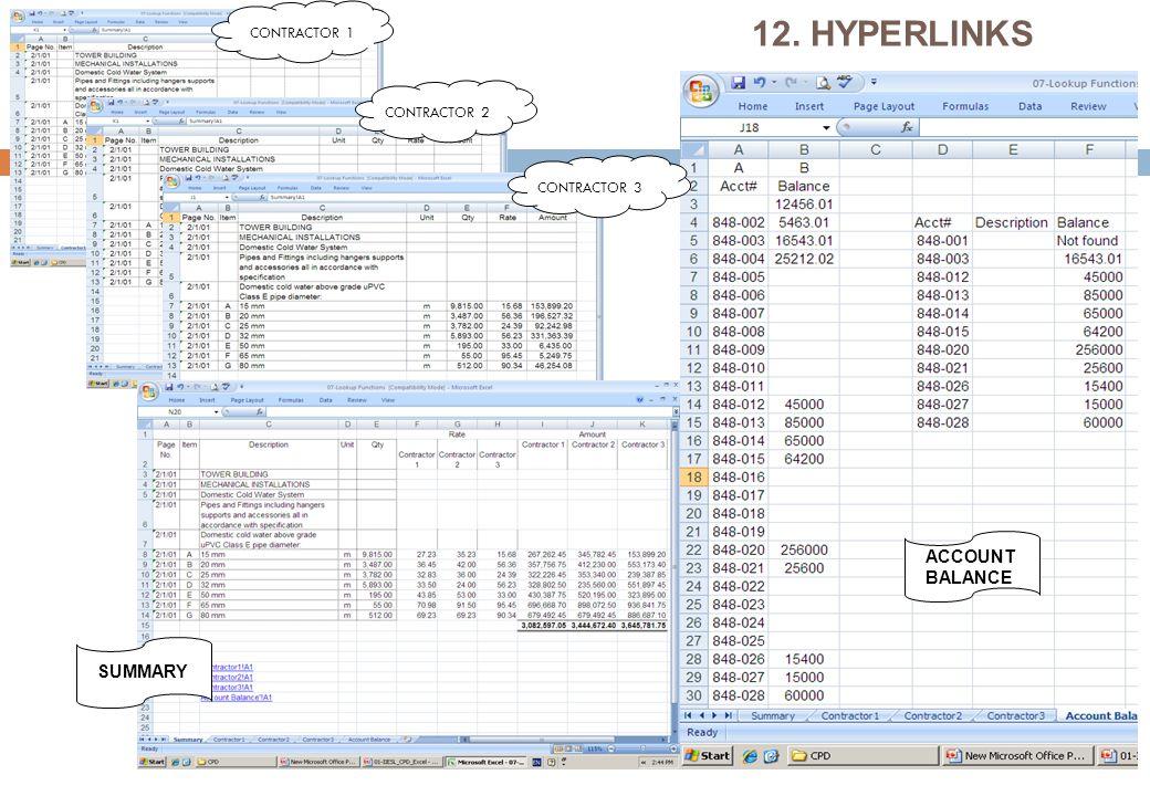 12. HYPERLINKS CONTRACTOR 1 CONTRACTOR 2 CONTRACTOR 3 SUMMARY ACCOUNT BALANCE