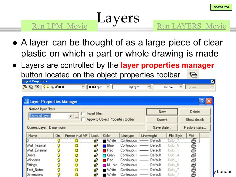 Ahmed Kovacevic, City University London Design web Layers l A layer can be thought of as a large piece of clear plastic on which a part or whole drawing is made l Layers are controlled by the layer properties manager button located on the object properties toolbar Run LPM MovieRun LAYERS Movie