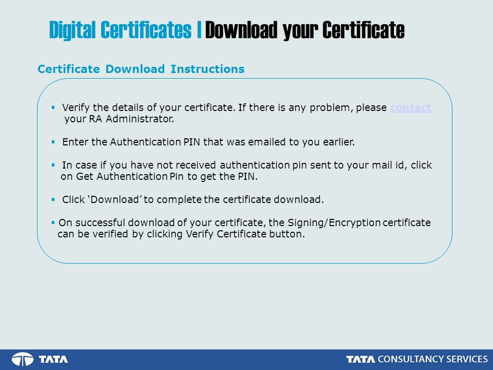 Verify the details of your certificate.