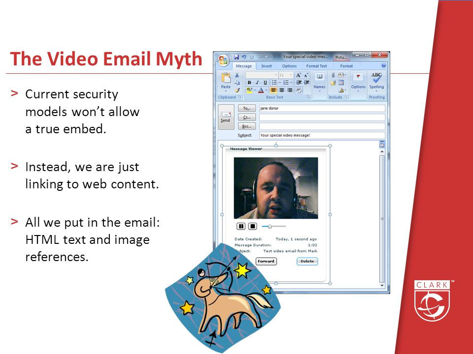 The Video Email Myth >Current security models wont allow a true embed.