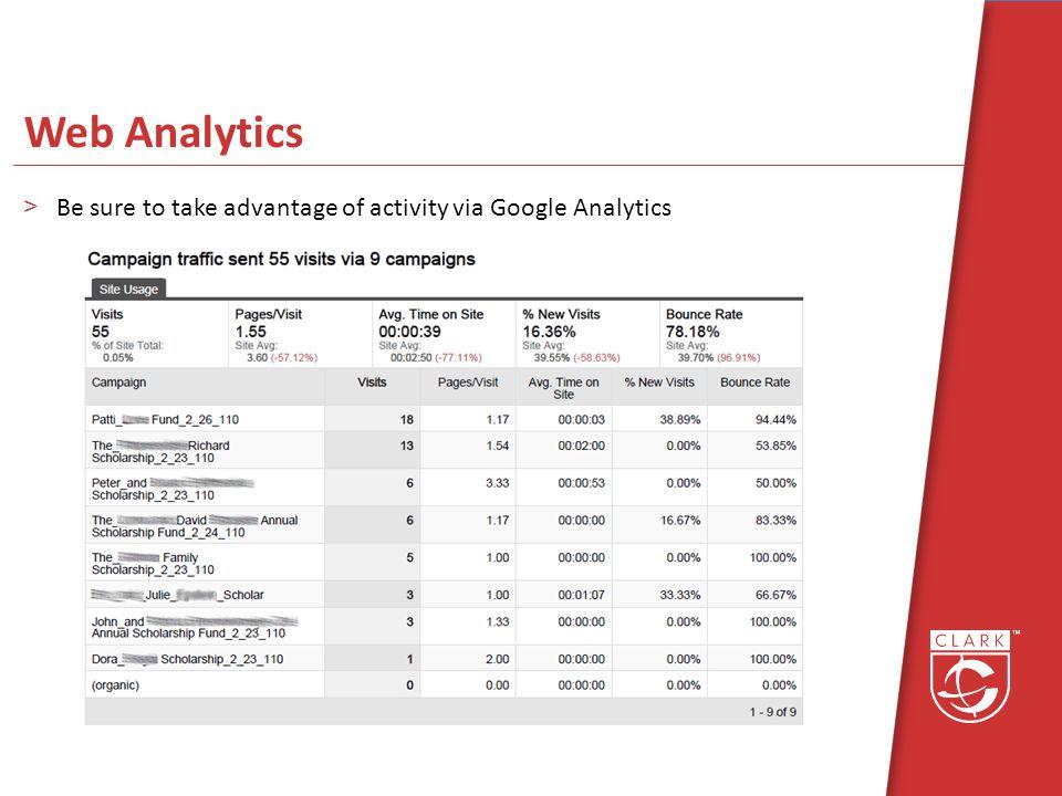 Web Analytics >Be sure to take advantage of activity via Google Analytics