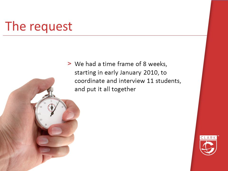 The request >We had a time frame of 8 weeks, starting in early January 2010, to coordinate and interview 11 students, and put it all together