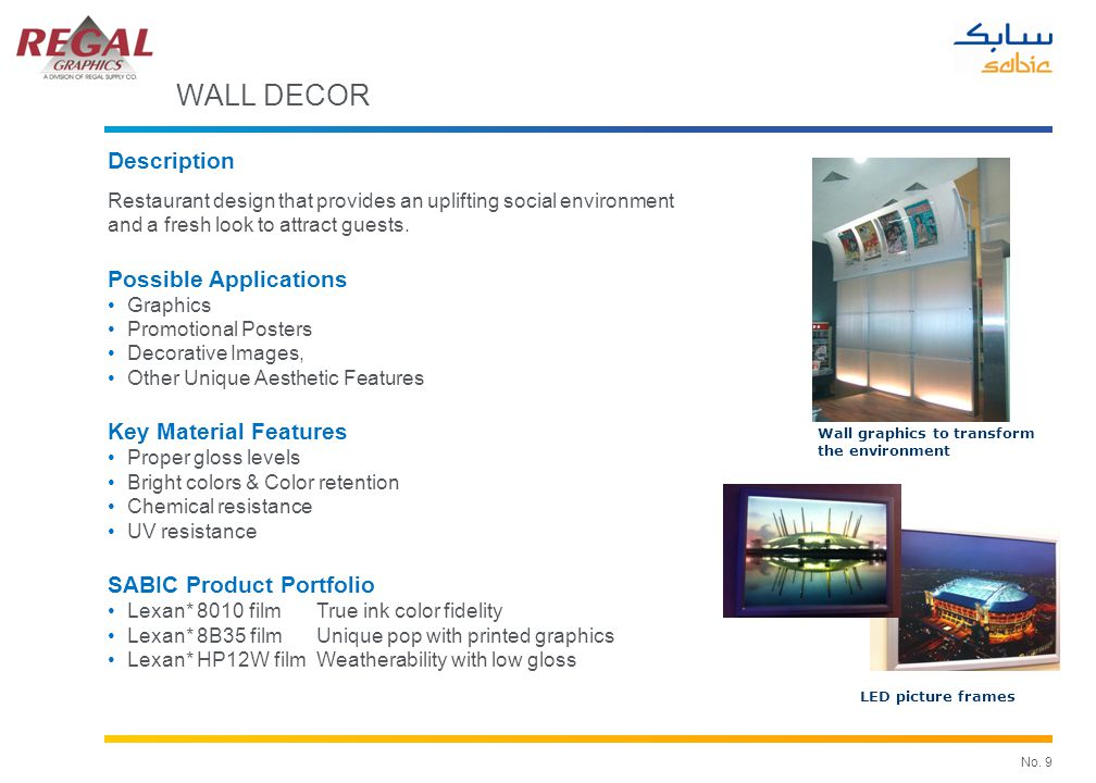 No. 9 Wall graphics to transform the environment LED picture frames WALL DECOR Description Restaurant design that provides an uplifting social environ