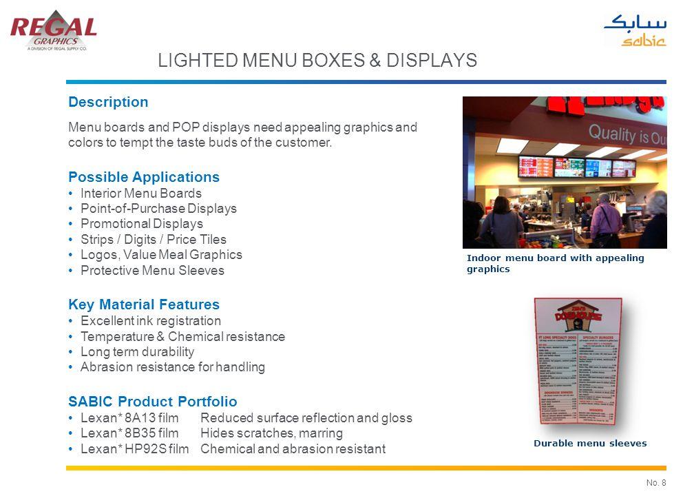 No. 8 Indoor menu board with appealing graphics Durable menu sleeves LIGHTED MENU BOXES & DISPLAYS Description Menu boards and POP displays need appea