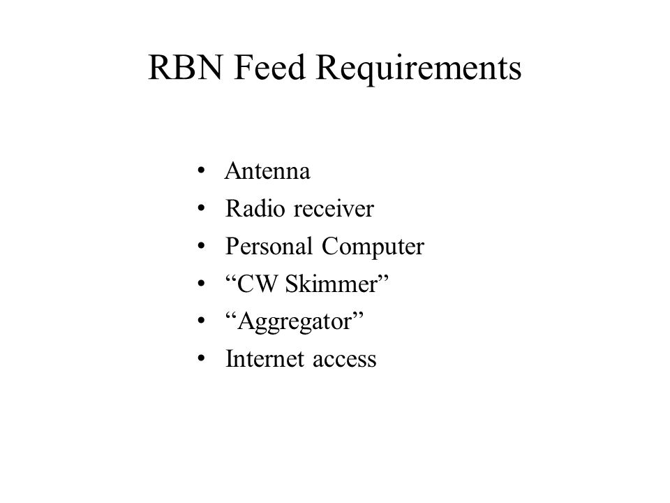 RBN Feed Requirements Antenna Radio receiver Personal Computer CW Skimmer Aggregator Internet access