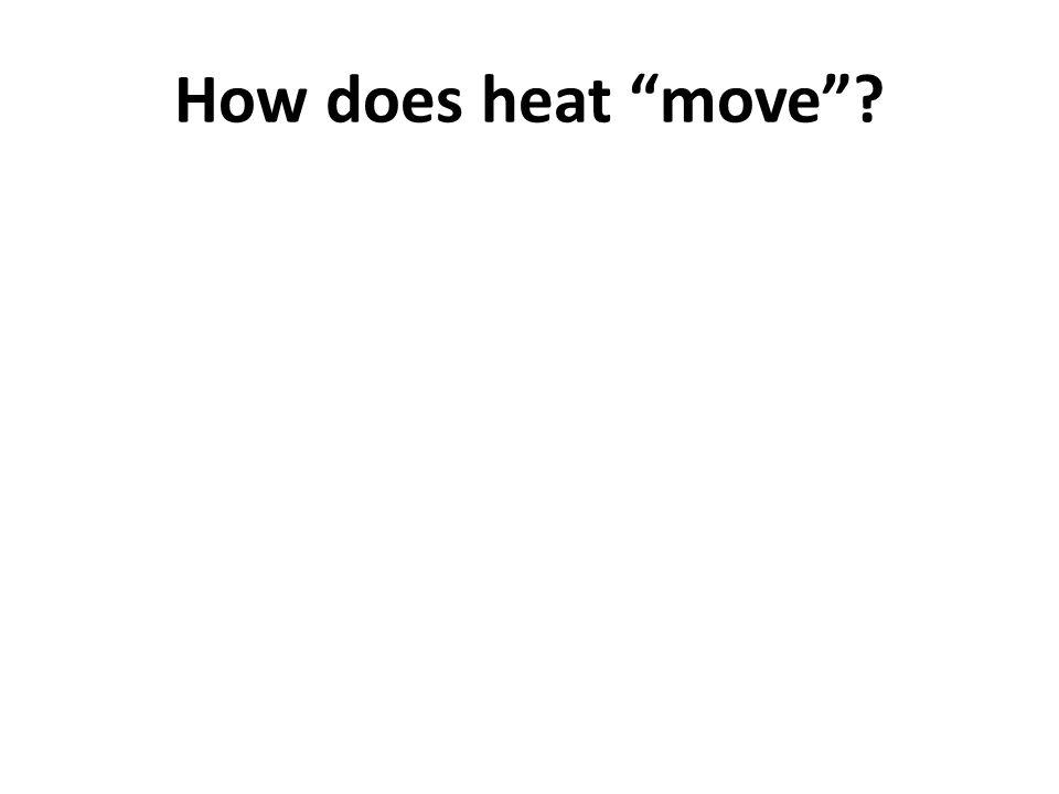 Heat is always transferred (moved) from areas of high energy (warm) to areas of low energy (cool)