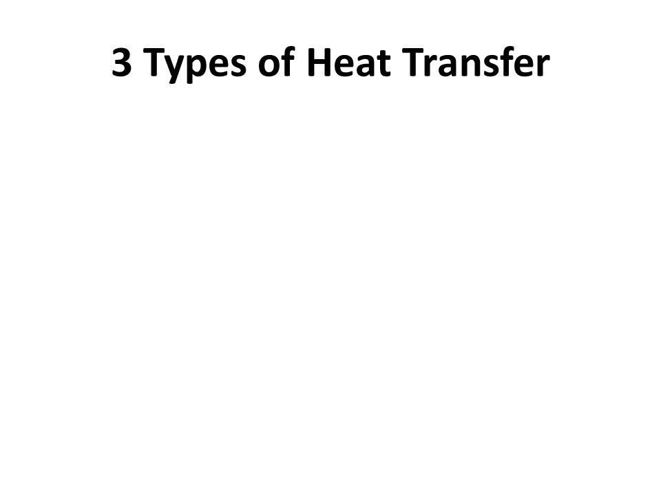 1.Conduction - transfer through direct contact (ex. hand on window)