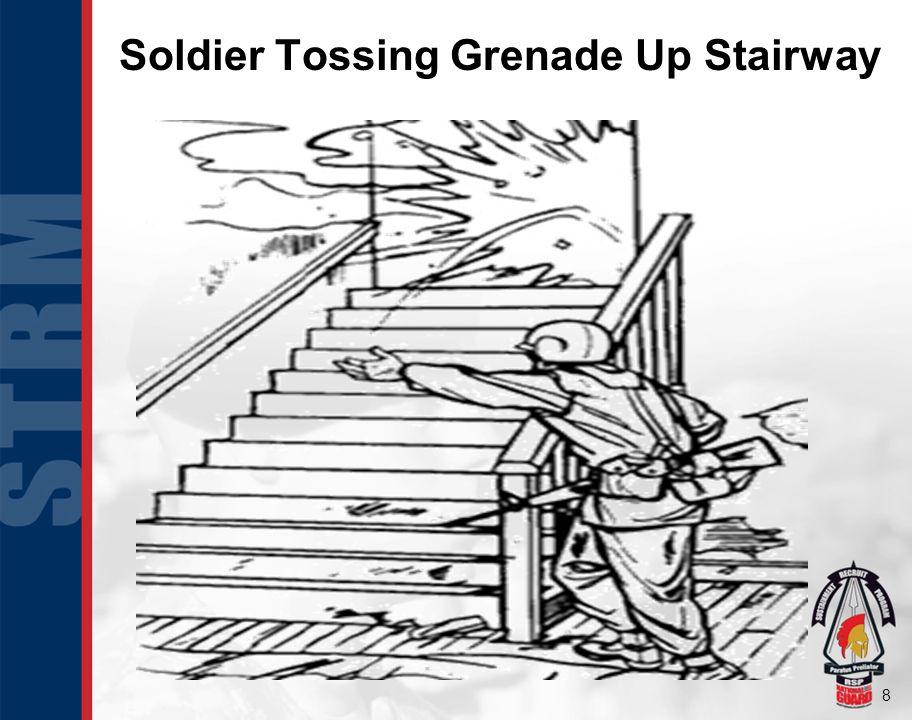 8 Soldier Tossing Grenade Up Stairway
