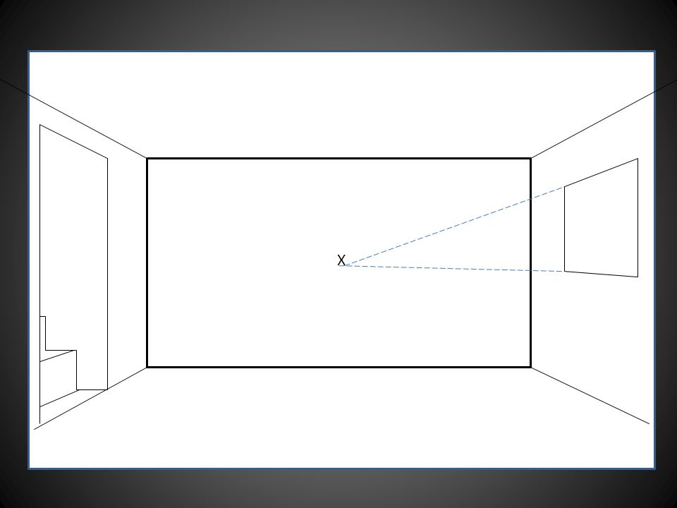 Draw a rectangle which represents the back of the room.