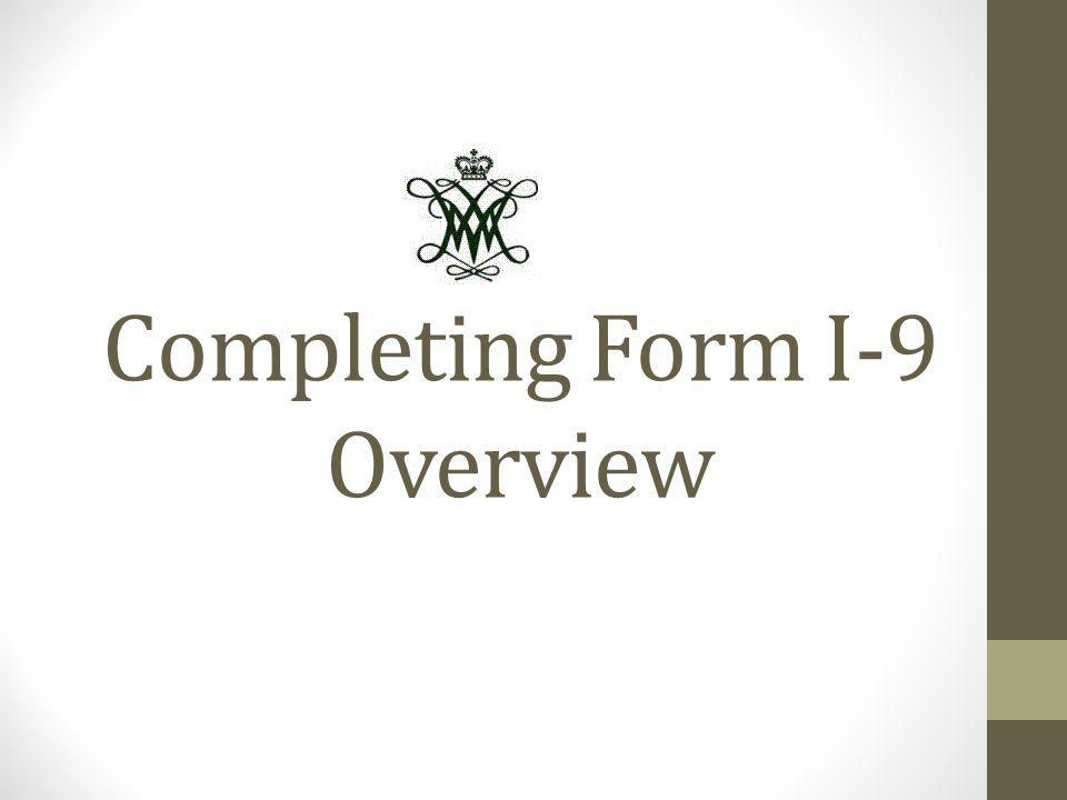 Completing Form I-9 Overview
