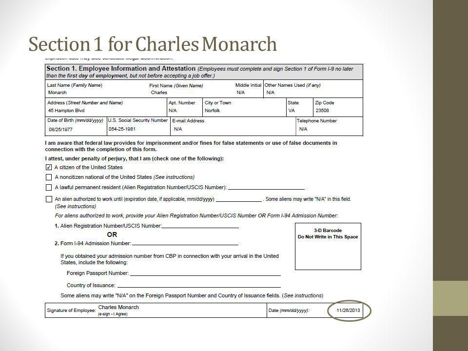 Section 1 for Charles Monarch