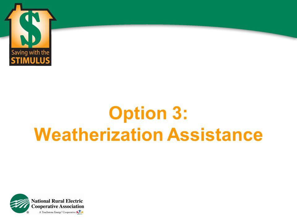 Option 3: Weatherization Assistance