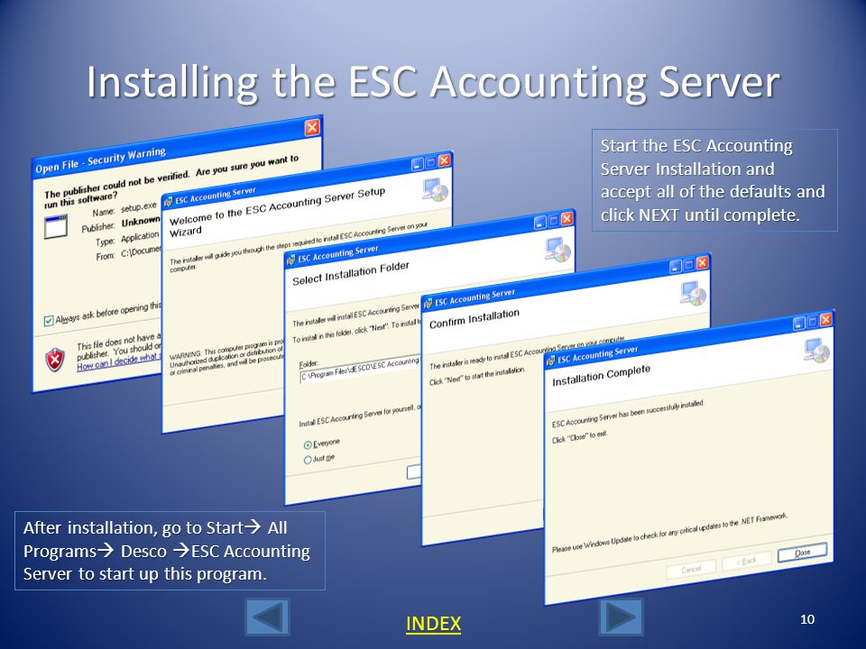 The ESC Accounting Server 9 INDEX The ESC Accounting Server was designed by dESCO to make connecting to QuickBooks from ESC a lot easier.
