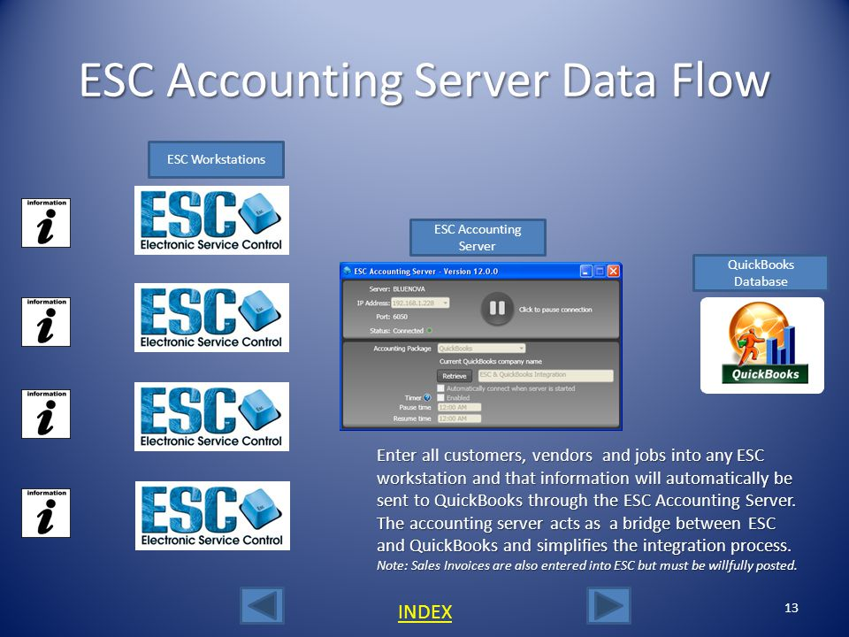 ESC Accounting Server Setup-2 12 Note the server name thats displayed here. This is the actual computer name. In this example, the server or computer