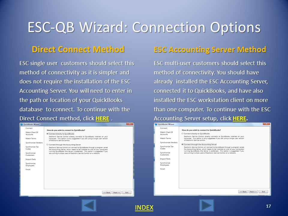 ESC-QB Wizard: Version Select 16 INDEX The first screen in the wizard allows selection between the United States and Canadian QuickBooks version. Sele