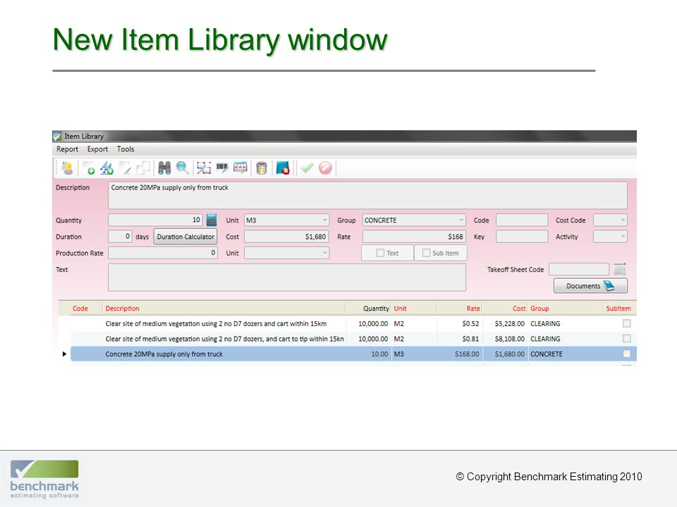 New Item Library window © Copyright Benchmark Estimating 2010