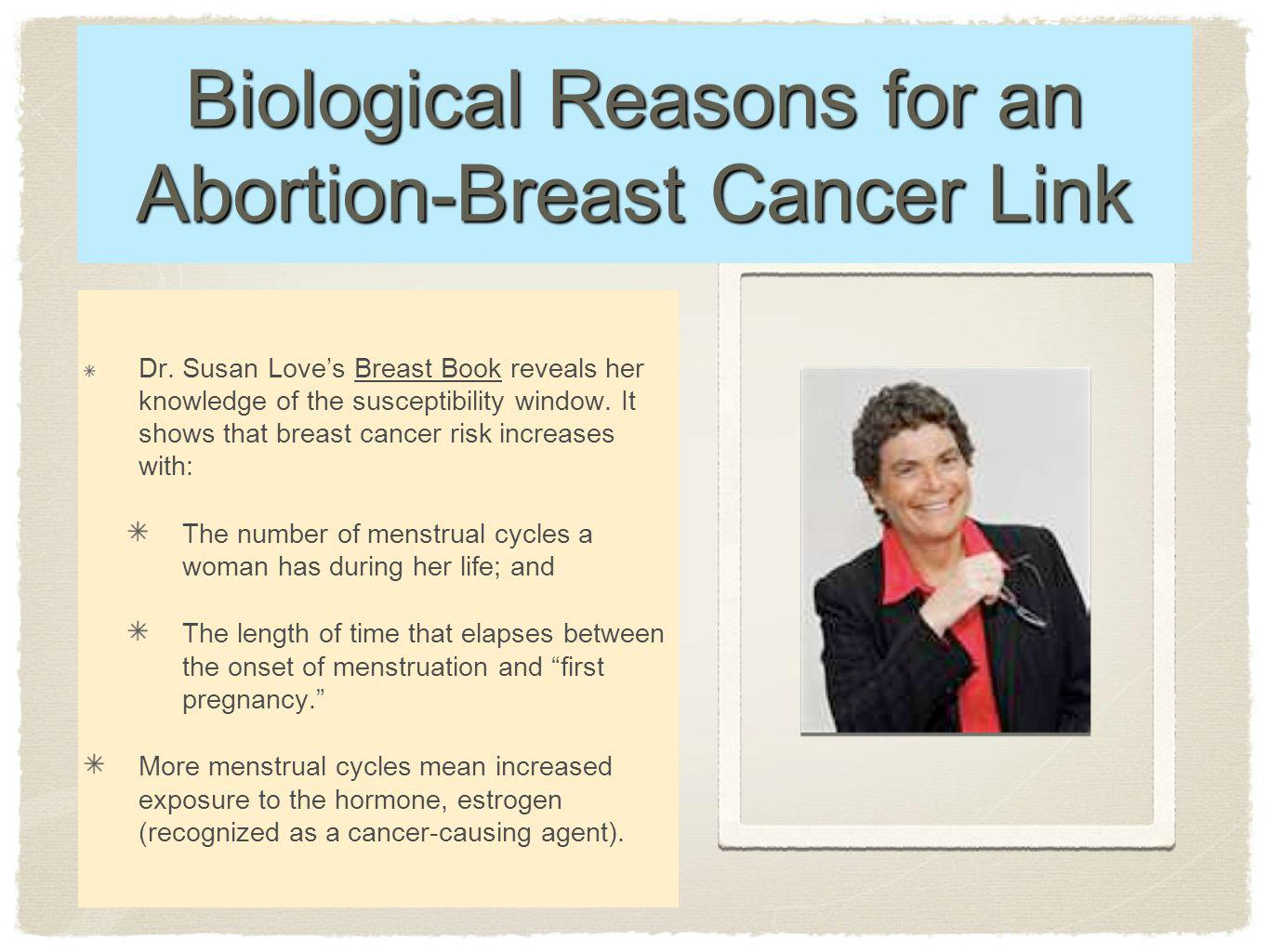 Biological Reasons for an Abortion-Breast Cancer Link Dr.