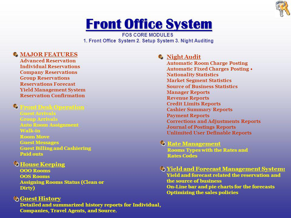 FOS CORE MODULES 1. Front Office System 2. Setup System 3.