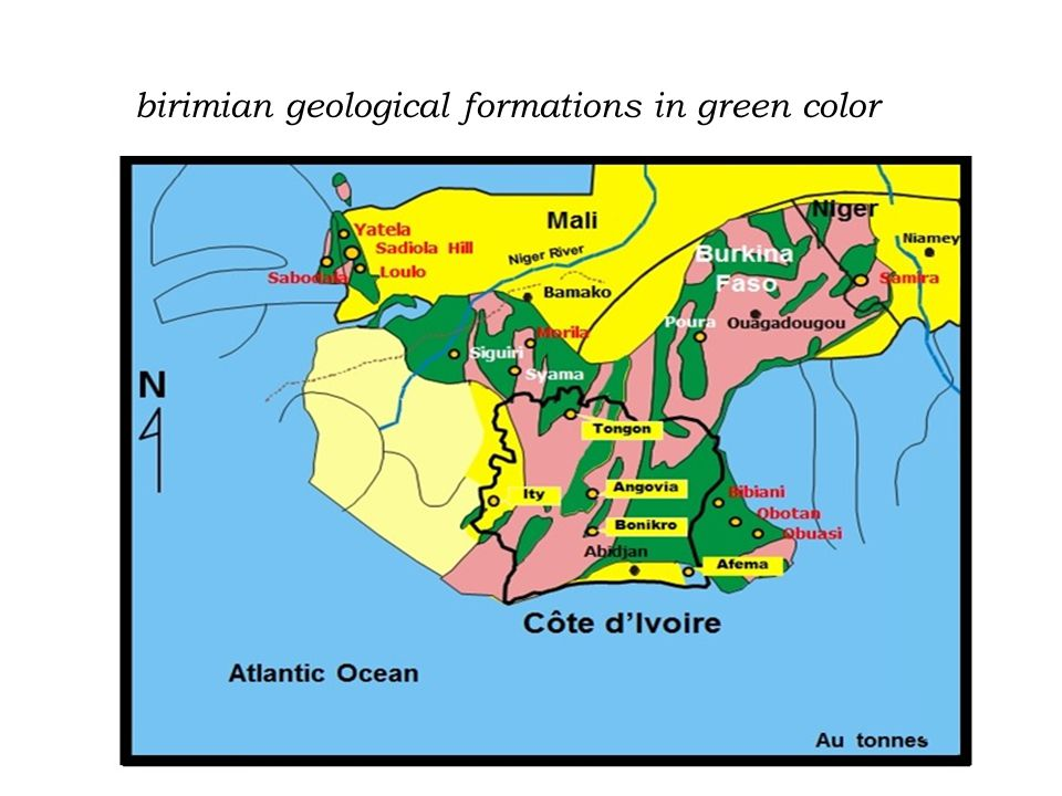 birimian geological formations in green color