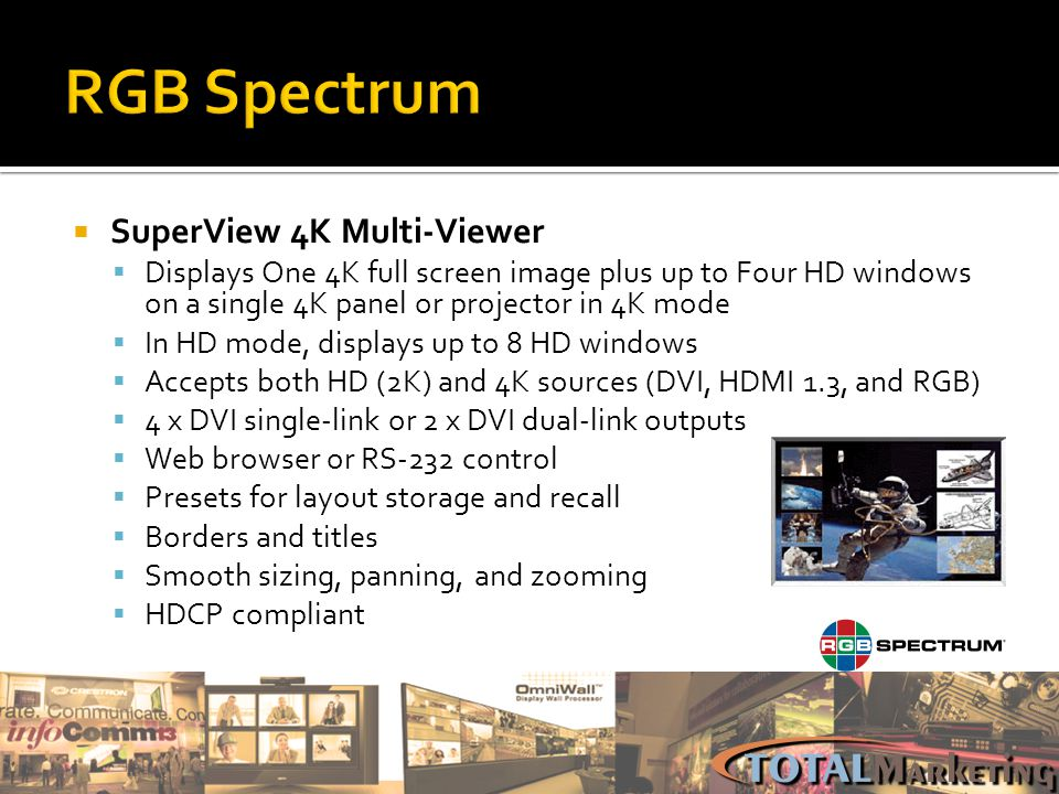 SuperView 4K Multi-Viewer Displays One 4K full screen image plus up to Four HD windows on a single 4K panel or projector in 4K mode In HD mode, displa